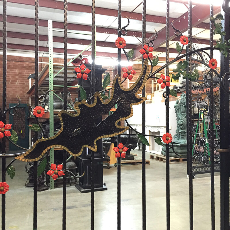 Metropolitan Galleries Iron Gate with Color Floral Pattern and Side Gate