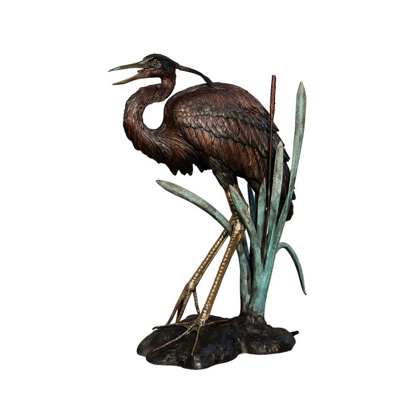 SRB022007 Bronze Heron Fountain Sculpture by Metropolitan Galleries Inc