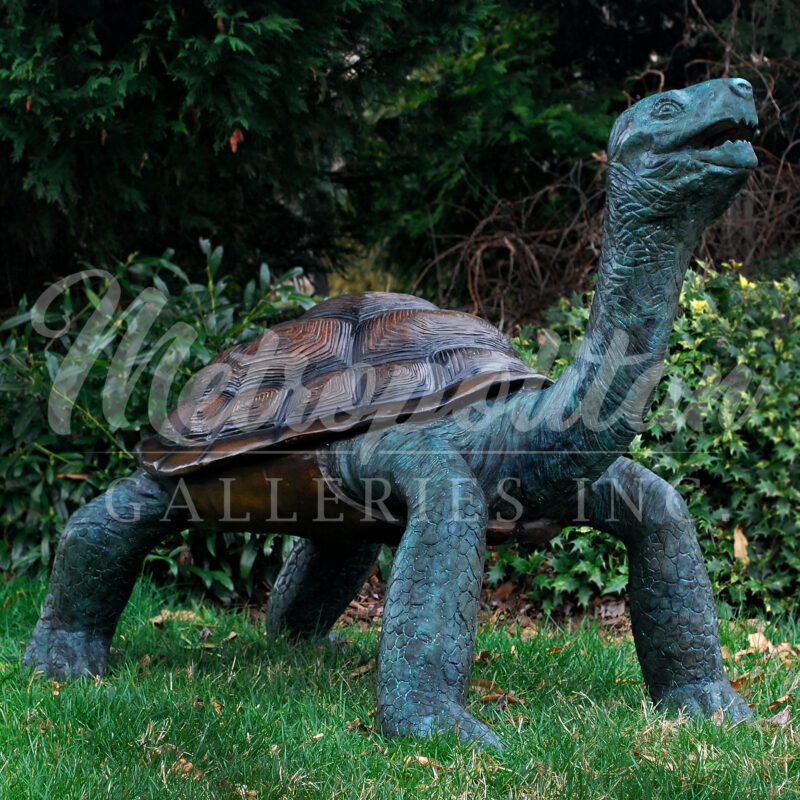 SRB082054 Bronze Galapagos Turtle Fountain Sculpture by Metropolitan Galleries Inc Brown & Green Patina