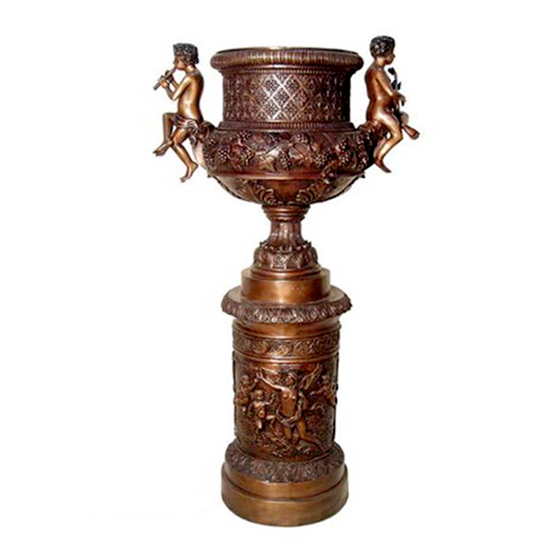 SRB083019 Bronze Cherub Urn on Pedestal Sculpture Metropolitan Galleries Inc.