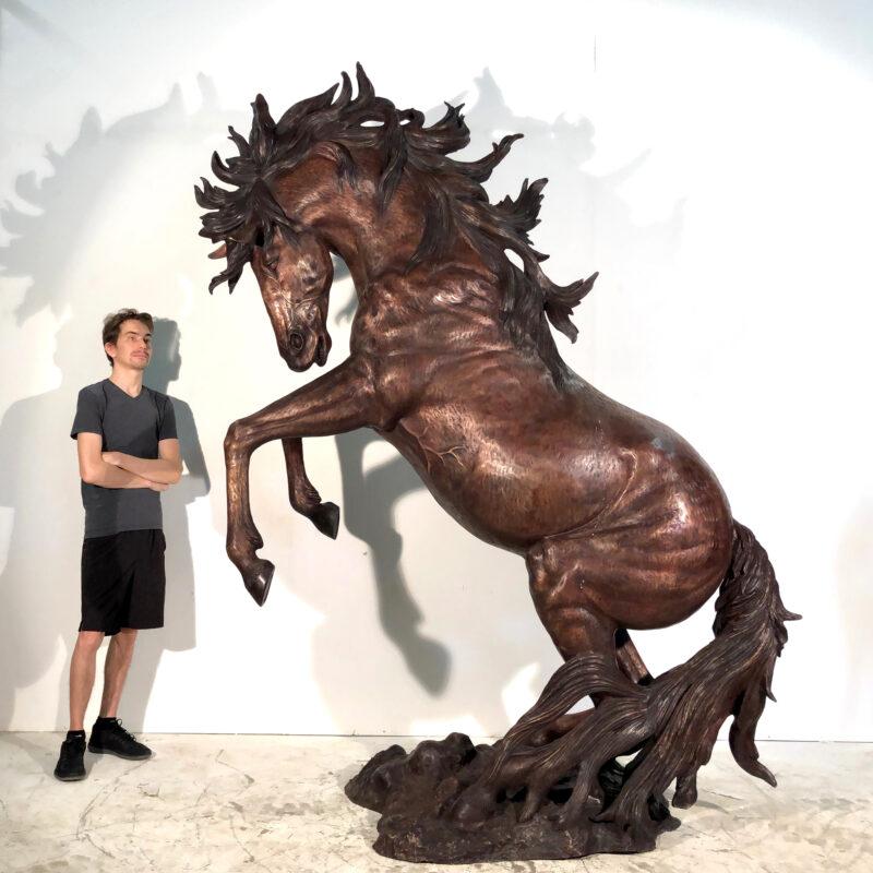 SRB10084-L Bronze Rearing Horse Sculpture by Metropolitan Galleries Inc SCALE