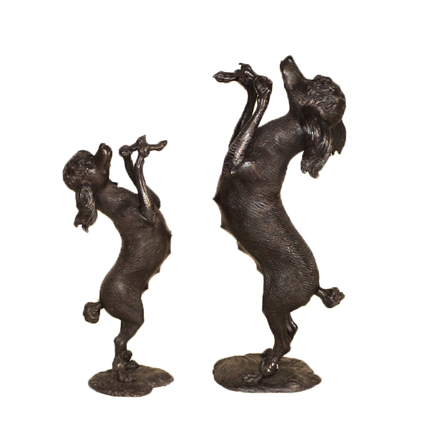SRB10089-90 Bronze Standing Poodle Dogs Sculpture Set Metropolitan Galleries Inc.