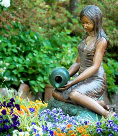 Metropolitan Galleries SRB41218 Sitting Girl with Vase Fountain Sculpture Statue Copper Bronze