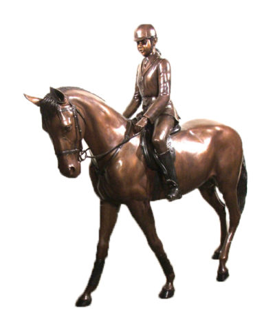 SRB48207 Bronze Girl Jockey on Horse Sculpture Metropolitan Galleries Inc.