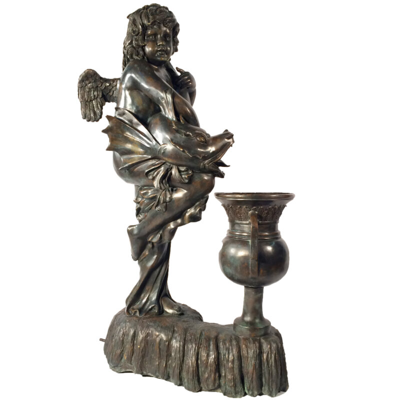 SRB54013 Bronze Cupid with Fish Fountain Metropolitan Galleries Inc.