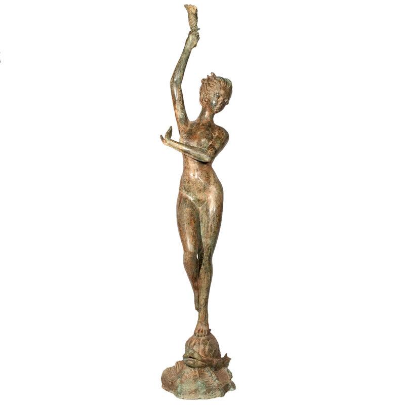 SRB992202 Bronze Lady holding Shell Fountain Sculpture Metropolitan Galleries Inc.