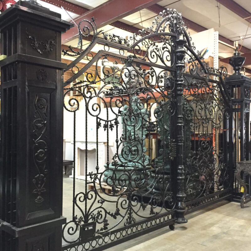 ING607 Iron Double Gate with Columns & Urns Metropolitan Galleries Inc.