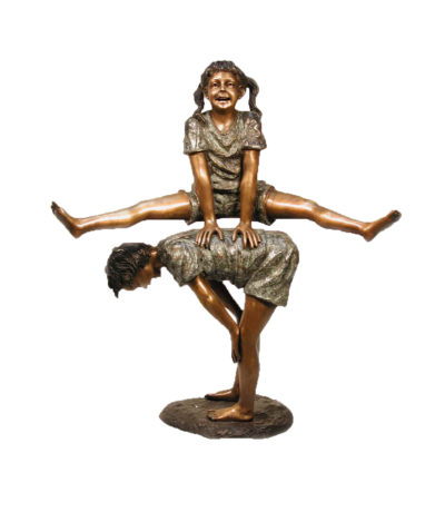 SRB052388 Bronze Boy & Girl Playing Leapfrog Sculpture Metropolitan Galleries Inc.
