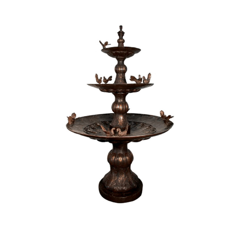 SRB052612 Bronze Twelve Fantail Pigeons Three Tier Fountain by Metropolitan Galleries Inc