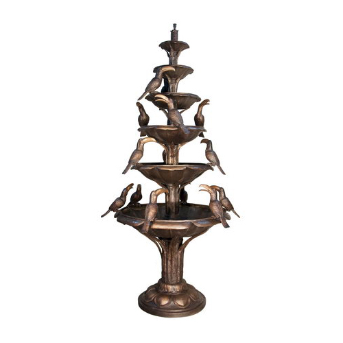 SRB057871-TT Bronze Tier Fountain with Birds Metropolitan Galleries Inc.