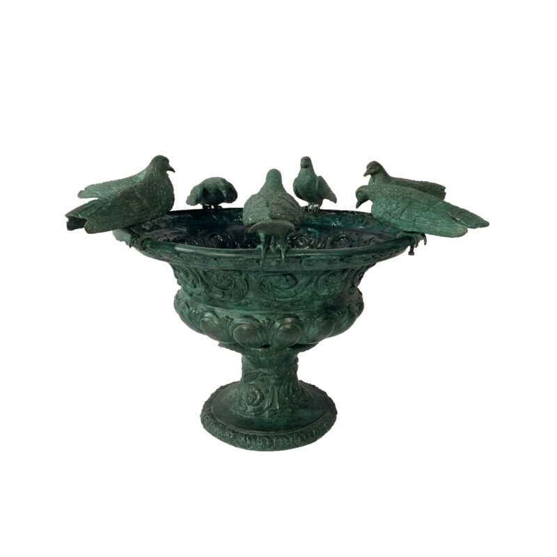 SRB42646 Bronze Seven Birds on Vase Fountain Metropolitan Galleries Inc.