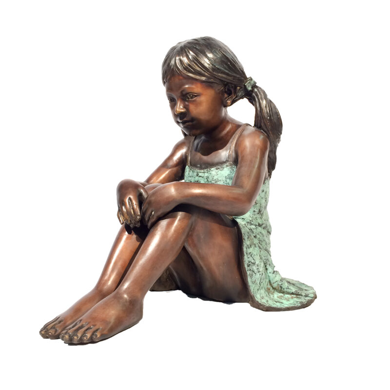 SRB706766 Bronze Sitting Girl in Dress Sculpture Metropolitan Galleries Inc.