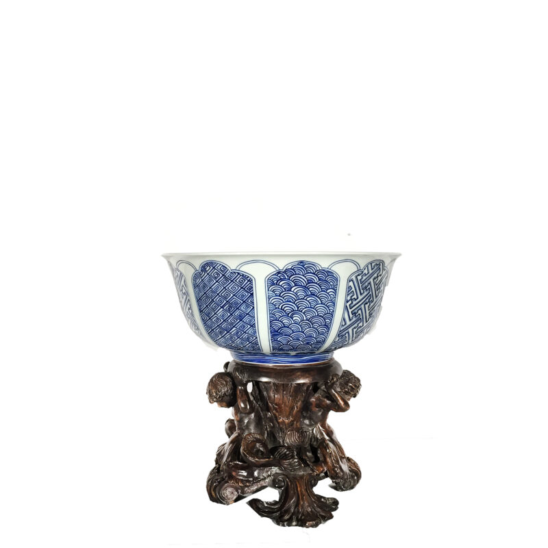 Cast Bronze Merboy Stand holding Porcelain Bowl
