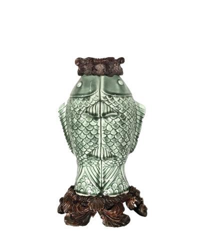 Cast Bronze Base & Accents holding Celadon Fish Vase
