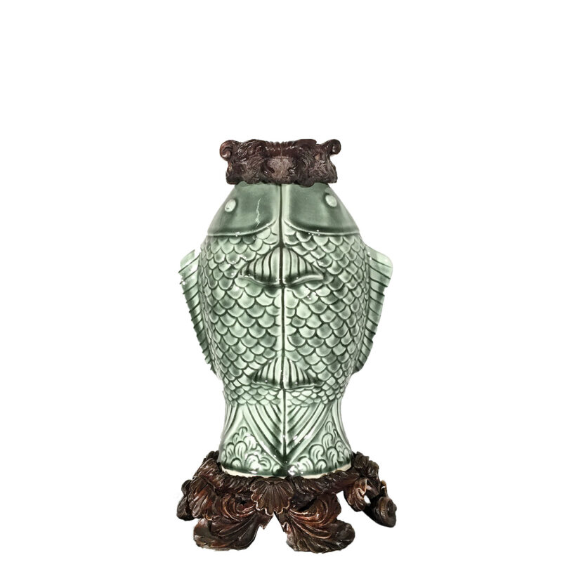 Cast Bronze Base & Accents holding Celadon Fish Vase