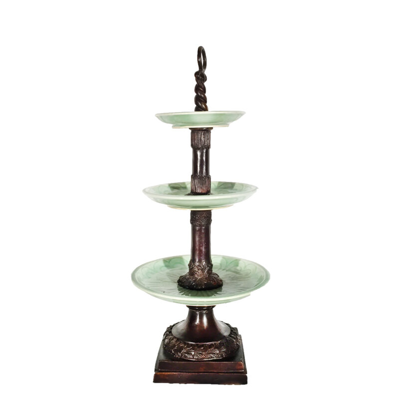 Cast Bronze Three Tier Server with Celadon Porcelain Plates