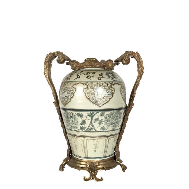 Cast Bronze Handles & Base holding Porcelain Vase