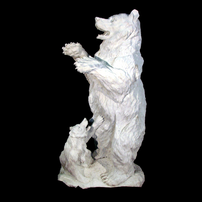 JBA181 Marble Standing Bear & Cub Sculpture Metropolitan Galleries Inc.