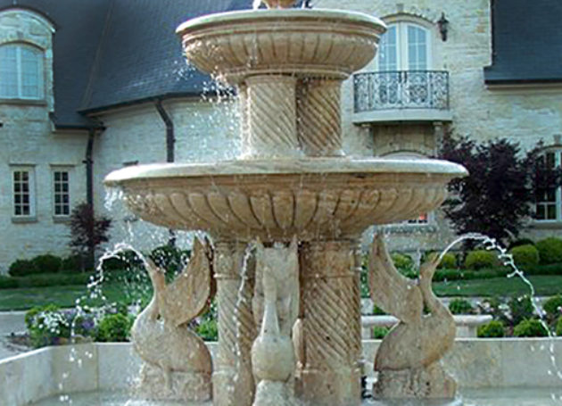Travertine Swan Fountain with Basin Installation