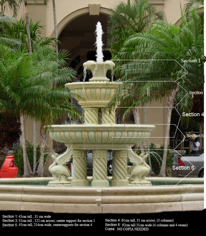JBF899 Marble Swan Tier Fountain with Surround Metropolitan Galleries Inc.