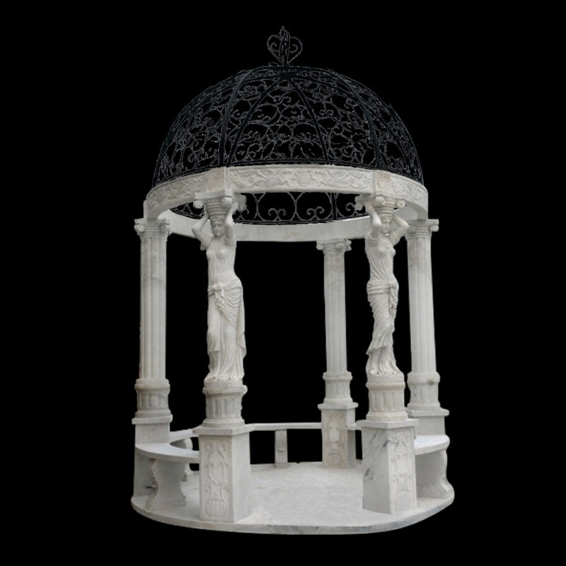 JBG402 Marble Caryatid Six Column Gazebo with Iron Dome by Metropolitan Galleries Inc