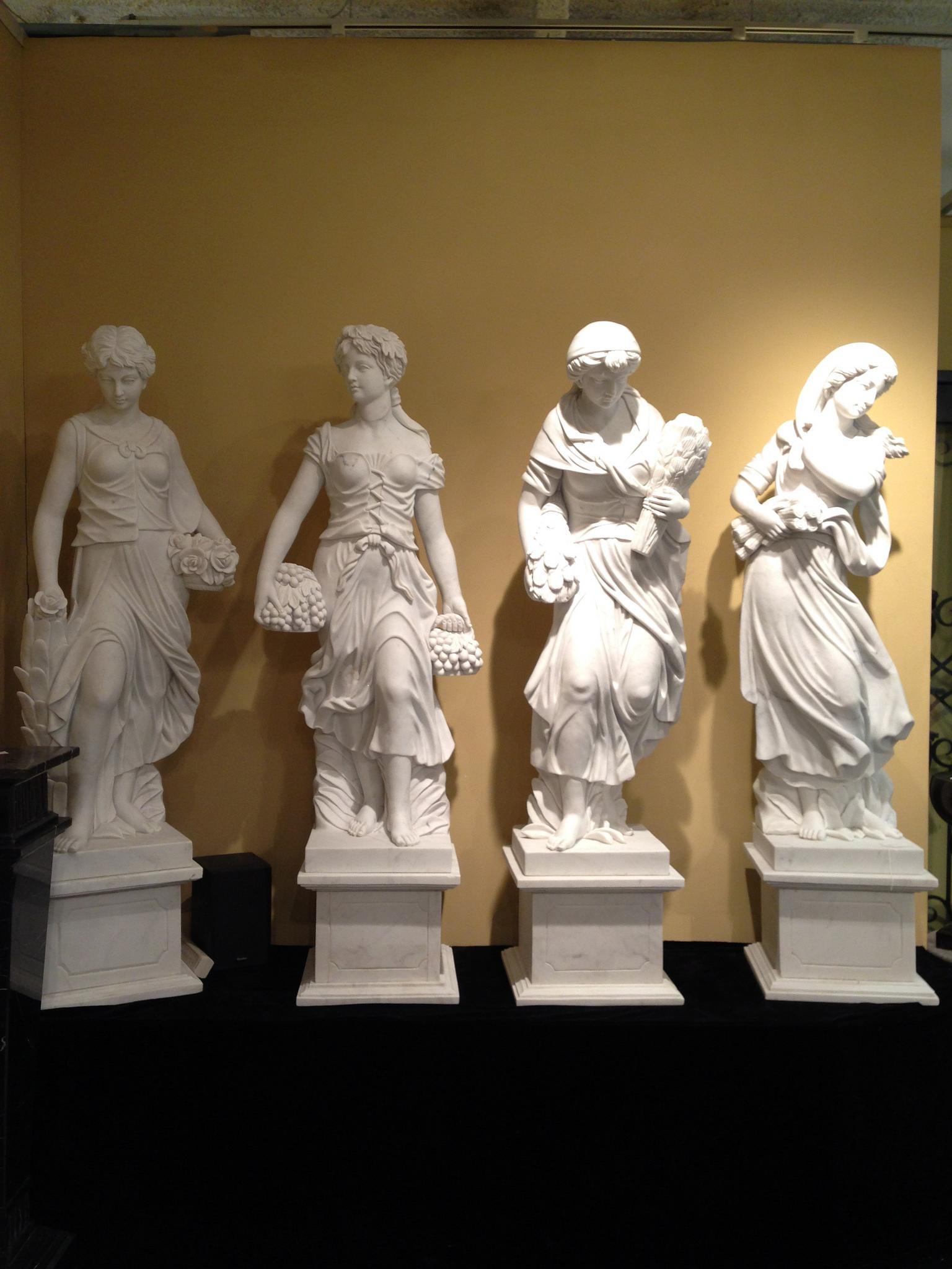 Marble Lady Four Seasons Statue Set Medium