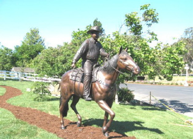 Custom Bronze Sculpture Mr. Madonna on Horse, San Luis Obispo, California
