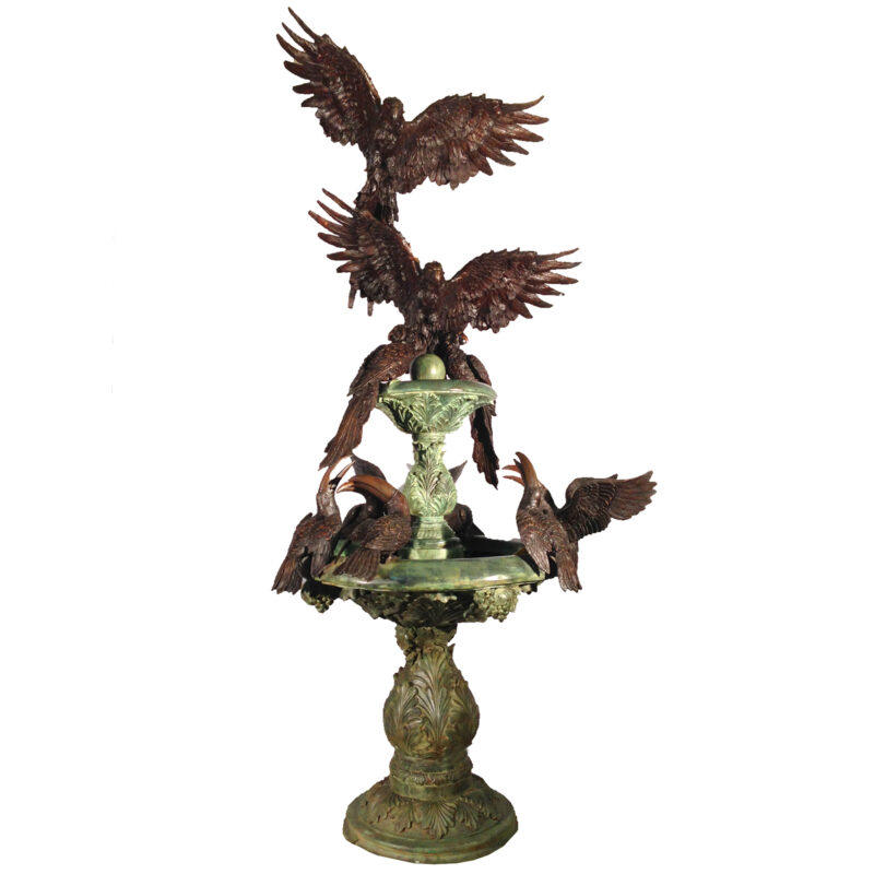 SRB30451 Bronze Tropical Bird Tier Fountain by Metropolitan Galleries Inc
