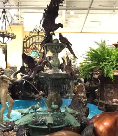 "Cast Bronze Massive Tropical Bird Fountain by Metropolitan Galleries is 124"" tall and made from quality cast bronze in antique green and french brown patina"