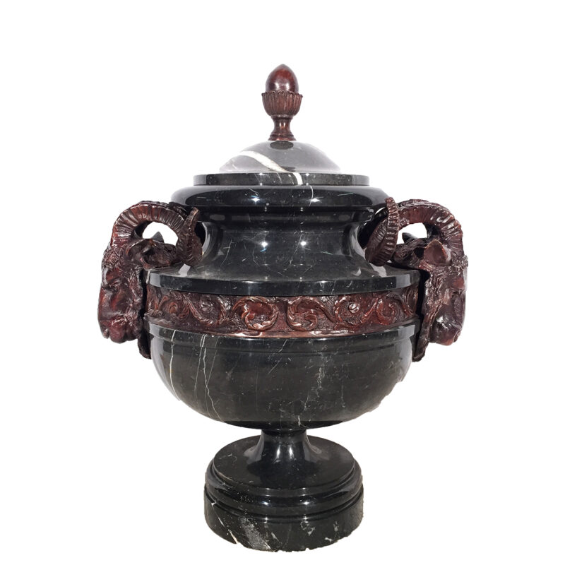 Black Marble Urn with Cast Bronze Rams Head & Lid