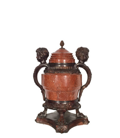 Red Marble Urn with Cast Bronze Boy Face Handles, Lid & Base