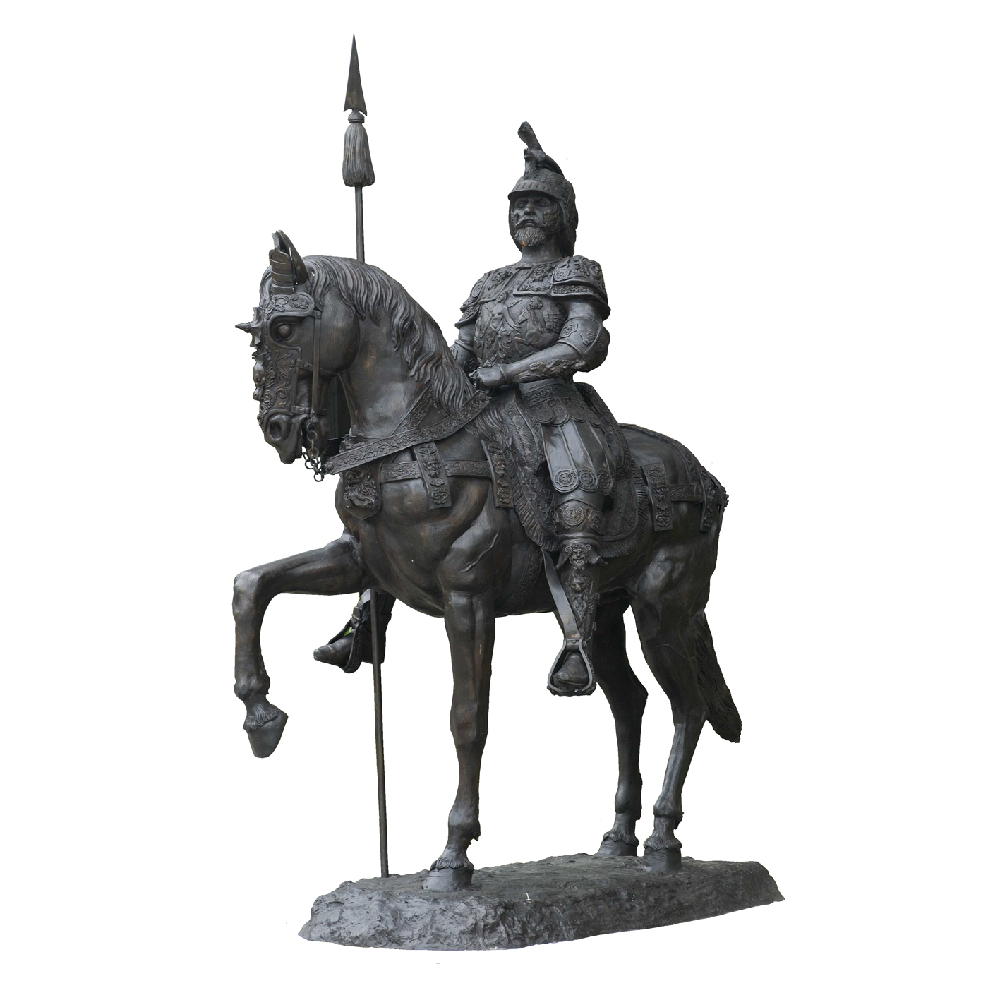 Cast Bronze Explorer on Horse with Sphere