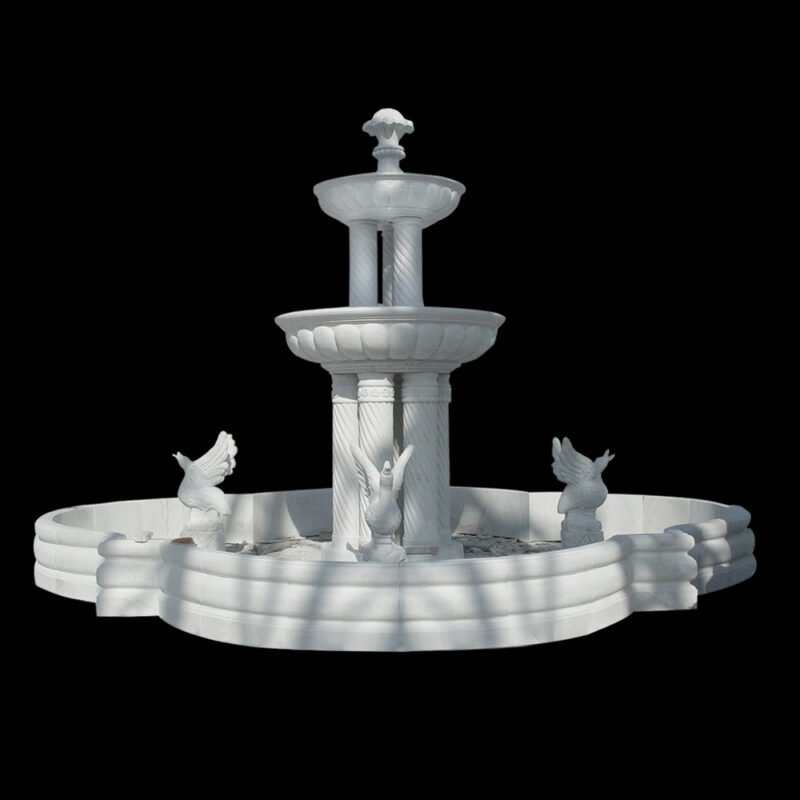 JBF087 Marble Two Tier Column Fountain with Swans & Basin by Metropolitan Galleries Inc