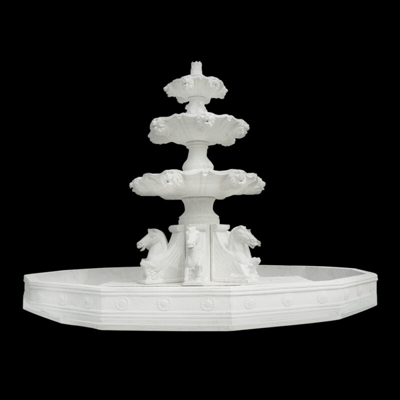 JBF088 Marble Three Tier Horse Fountain with Basin by Metropolitan Galleries Inc