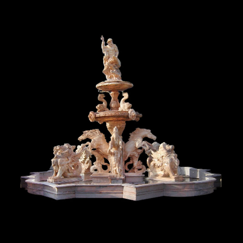 JBF700 Marble Neptune Tier Fountain with Lions & Horses by Metropolitan Galleries Inc