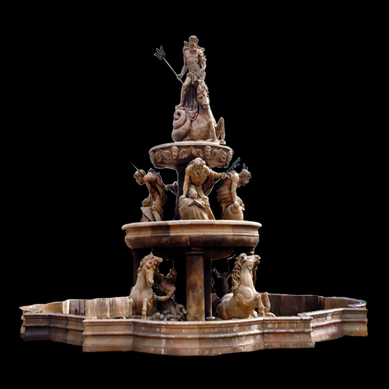 JBF701 Marble Neptune Tier Fountain with Horses & Basin by Metropolitan Galleries Inc