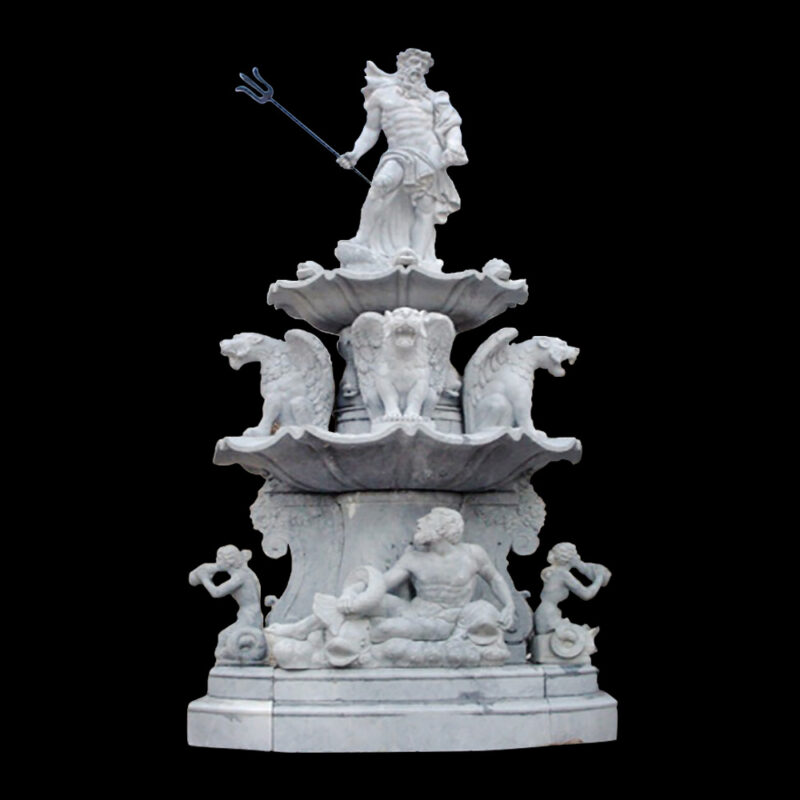 JBF813 Marble Neptune Tier Fountain with Gryphons by Metropolitan Galleries Inc