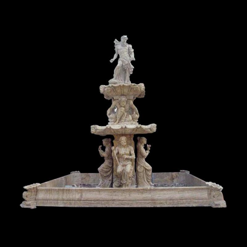 JBF821 Marble Neptune Tier Fountain & Basin by Metropolitan Galleries Inc