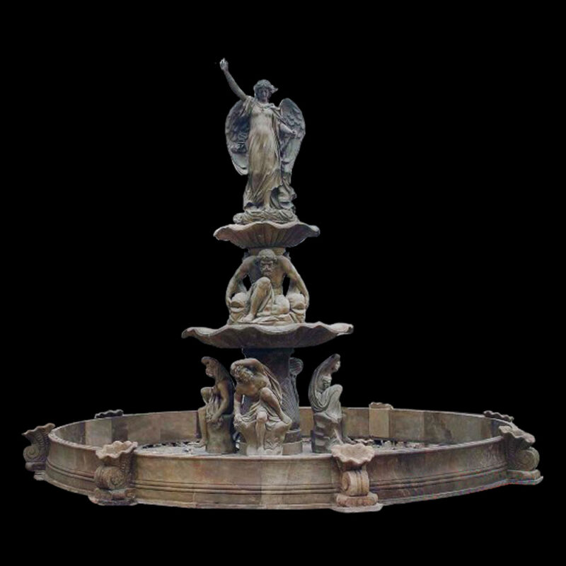 JBF825 Marble Angelic Tier Fountain & Circle Basin by Metropolitan Galleries Inc
