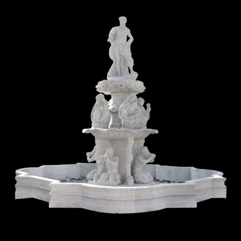 JBF826 Marble Roman Man Tier Fountain & Octagonal Basin by Metropolitan Galleries Inc