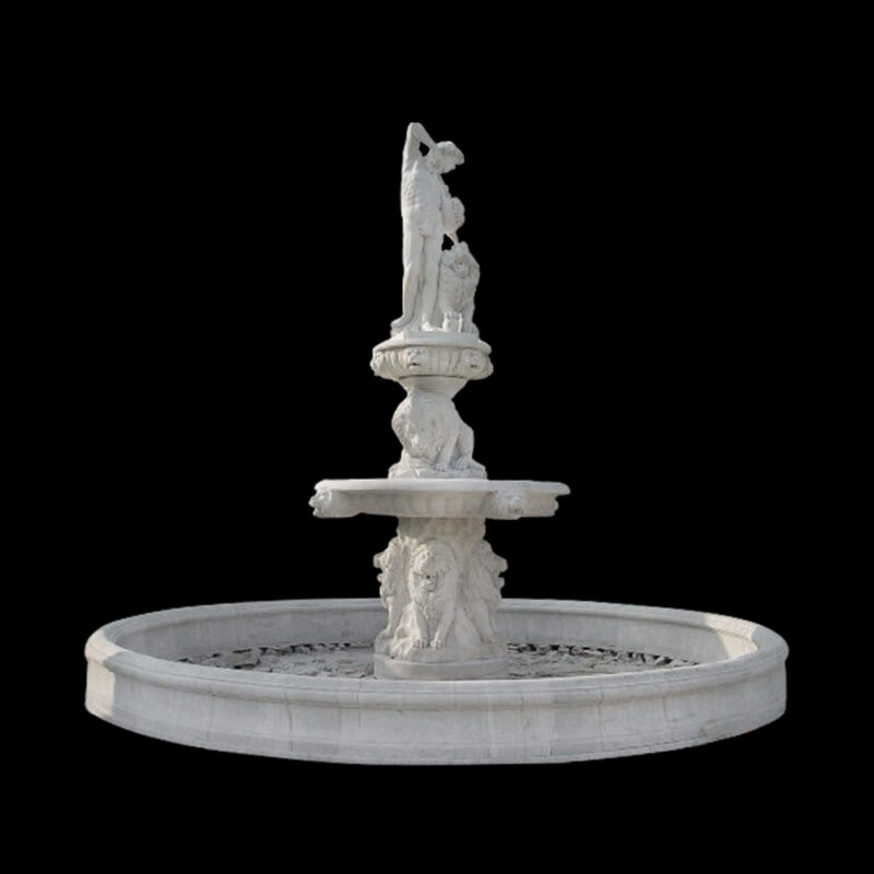 JBF828 Marble Lady & Lions Fountain with Basin by Metropolitan Galleries Inc
