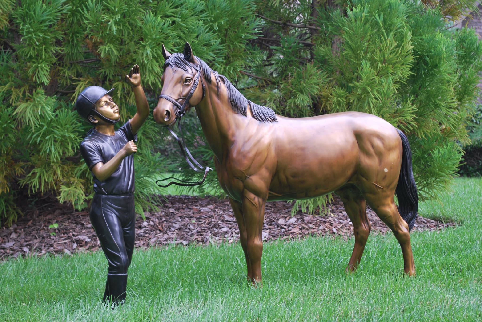 Cast Bronze Nancy Kissing Her Horse Statue from Metropolitan Galleries in French Brown patina. Our wide selection of cast bronze statues and bronze fountain