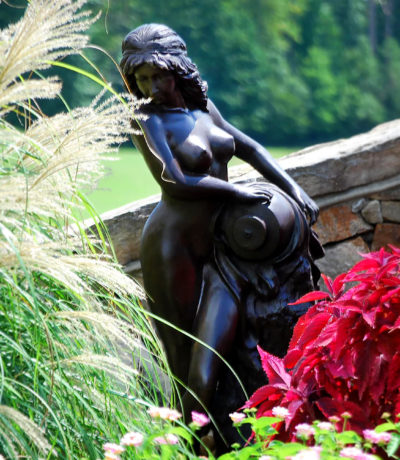 Cast Bronze Art Deco Nude Woman Fountain The Source Metropolitan Galleries High Point North Carolina