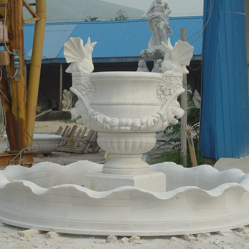 Hand Carved White Marble Fountain with Lions, Garland and Surround