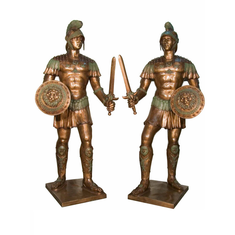 SRB052748-49 Bronze Warriors in Armor Sculpture Set by Metropolitan Galleries Inc