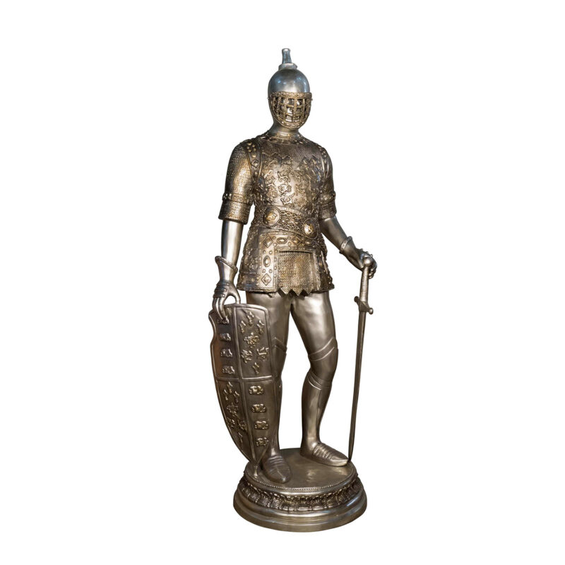 SRB055911 Bronze Knight with Shield Sculpture by Metropolitan Galleries Inc