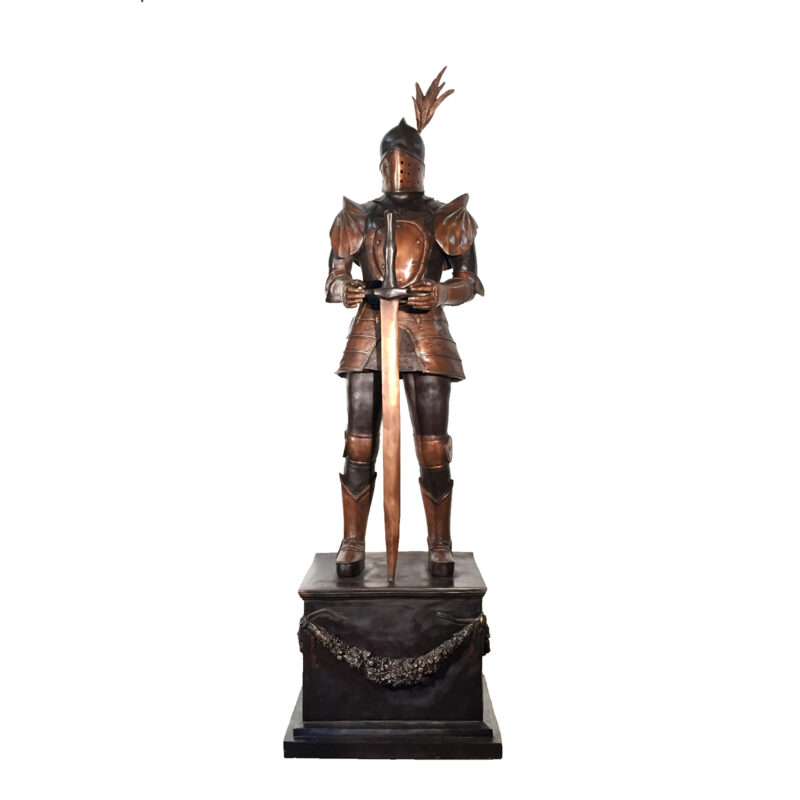 SRB091005 Bronze Knight with Sword on Pedestal Sculpture by Metropolitan Galleries Inc