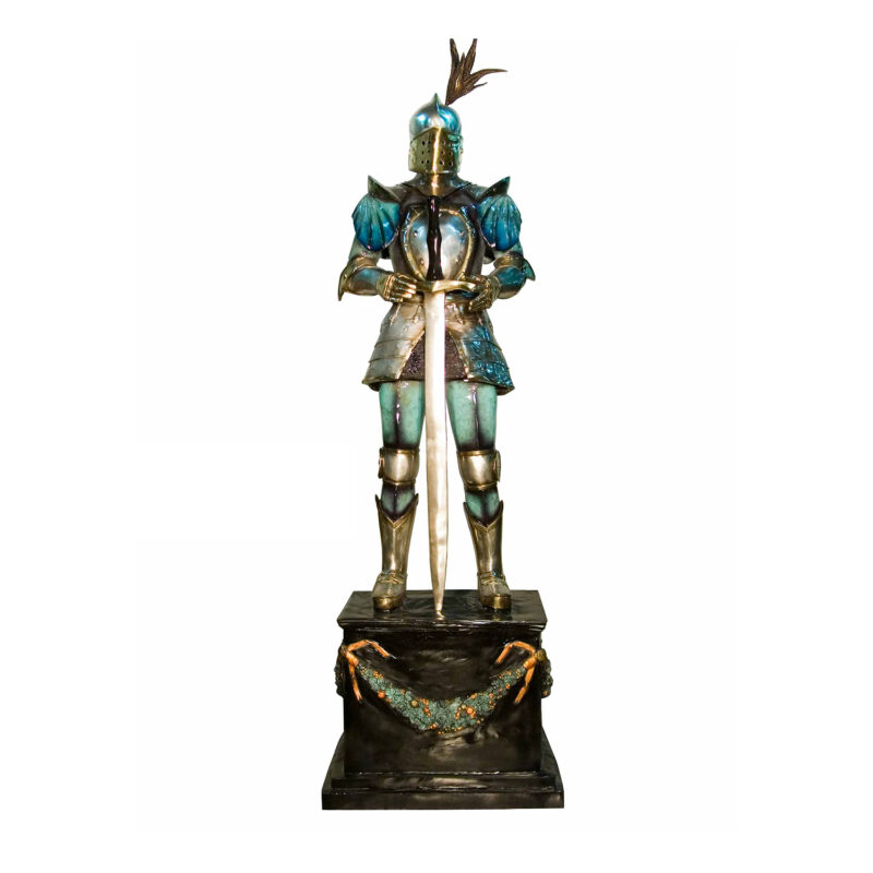 SRB091005-C Bronze Knight with Sword on Pedestal Sculpture Color Patina Metropolitan Galleries Inc