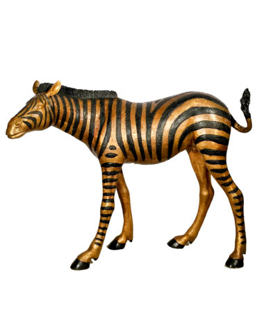 SRB15088 Metropolitan Galleries Cast Bronze Standing Baby Zebra Sculpture