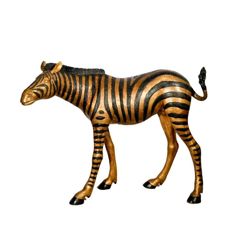 SRB15088 Metropolitan Galleries Cast Bronze Standing Baby Zebra Sculpture
